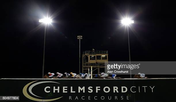 Runners pass the judges box in The Scoopsixsoccer The £1 Million Football Bet Handicap Stakes at Chelmsford racecourse on January 14 2016 in...