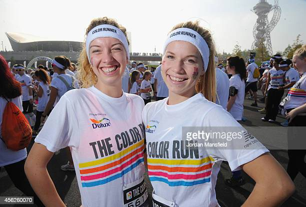Runners prepare for the Color Run presented by Dulux known as the happiest 5km on the planet at Queen Elizabeth Olympic Park on September 28 2014 in...