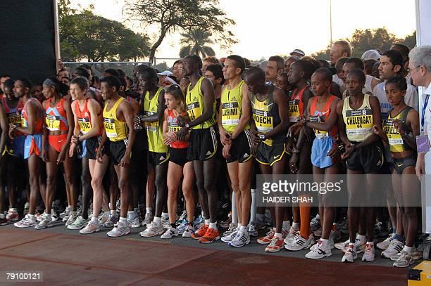 Runners prepare to compete at the Dubai Marathon 2008 the world's richest marathon in Dubai 18 January 2008 Ethiopian athletics legend Haile...