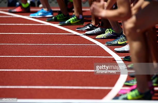 Runners prepare to compete in the International Mile during day 2 of the IAAF Diamond League Nike Prefontaine Classic on May 31 2014 at the Hayward...