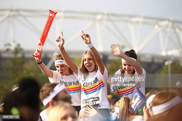 Runners prepare to take part in The Color Run presented by Dulux known as the happiest 5km on the planet at Queen Elizabeth Olympic Park on September...