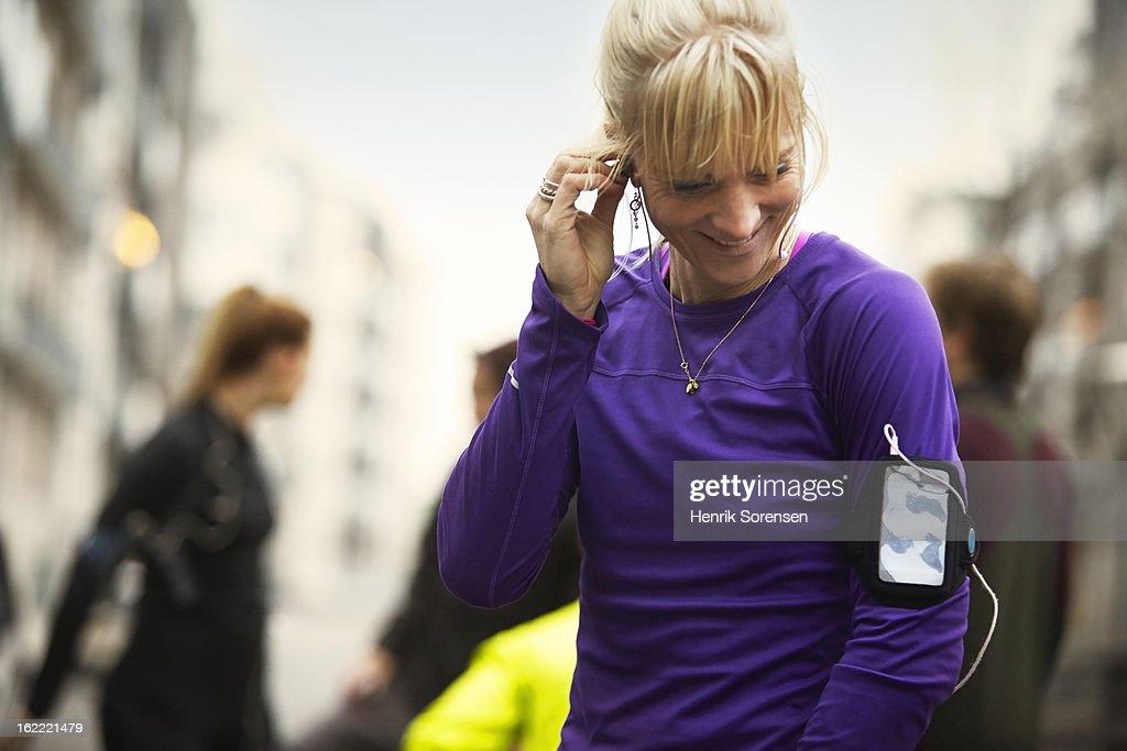 runners preparing in urban invironment : Stock Photo