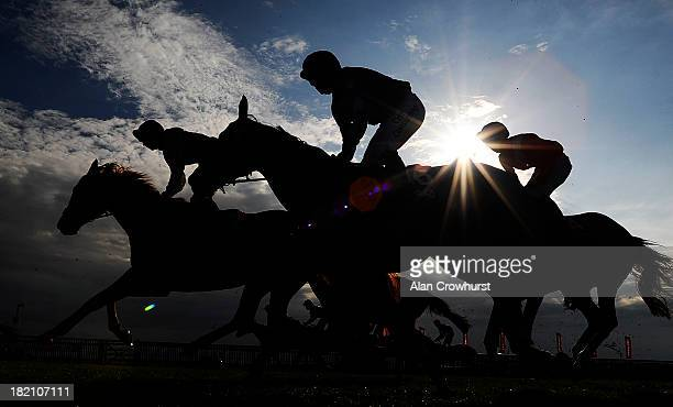 Runners pull up after finishing The Betfred Cambridgeshire at Newmarket racecourse on September 28 2013 in Newmarket England