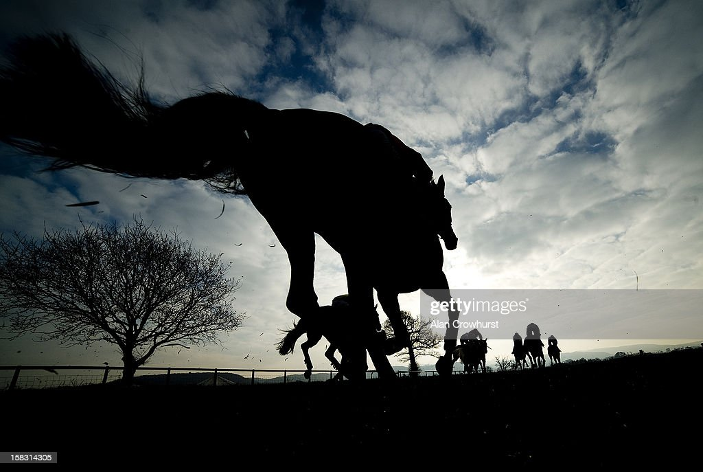 Runners race down the back straight in The Bathwick Tyres Taunton Handicap Hurdle Race at Taunton racecourse on December 13, 2012 in Taunton, England.