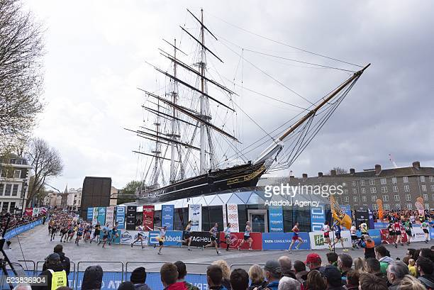 Runners run around the Cutty Sark in the 2016 London Marathon in London United Kingdom on April 24 2016