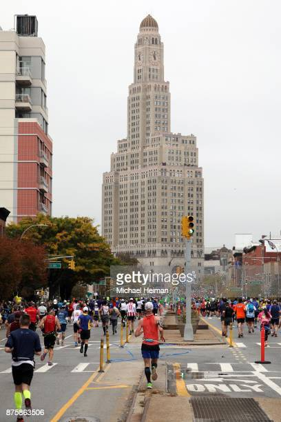 Runners run down 4th Ave as they compete during the 2017 TCS New York City Marathon on November 05 2017 in the Brooklyn borough of New York City