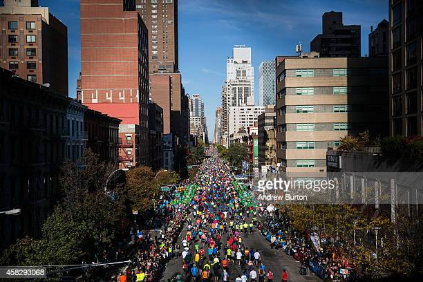 Runners run up First Avenue as seen from the 59th Street Bridge during the TCS New York City Marathon on November 2 2014 inof New York City