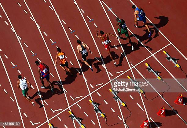 Runners sprint from the starting blocks in the Men's Decathlon 100 metres during day seven of the 15th IAAF World Athletics Championships Beijing...