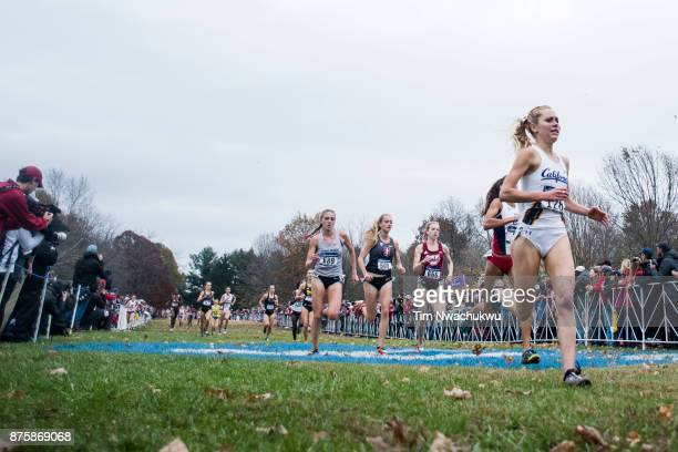 Runners sprint to the finish line during the Division I Women's Cross Country Championship held at EP Tom Sawyer Park on November 18 2017 in...