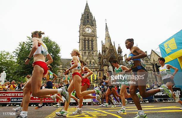 Runners start the Womens Marathon in front of the town hall in Manchester England on July 28 2002