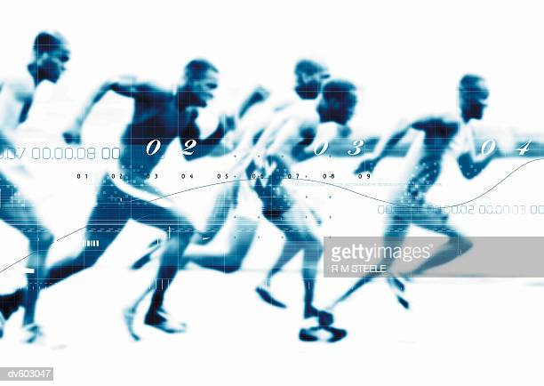 Runners Superimposed with Numbers