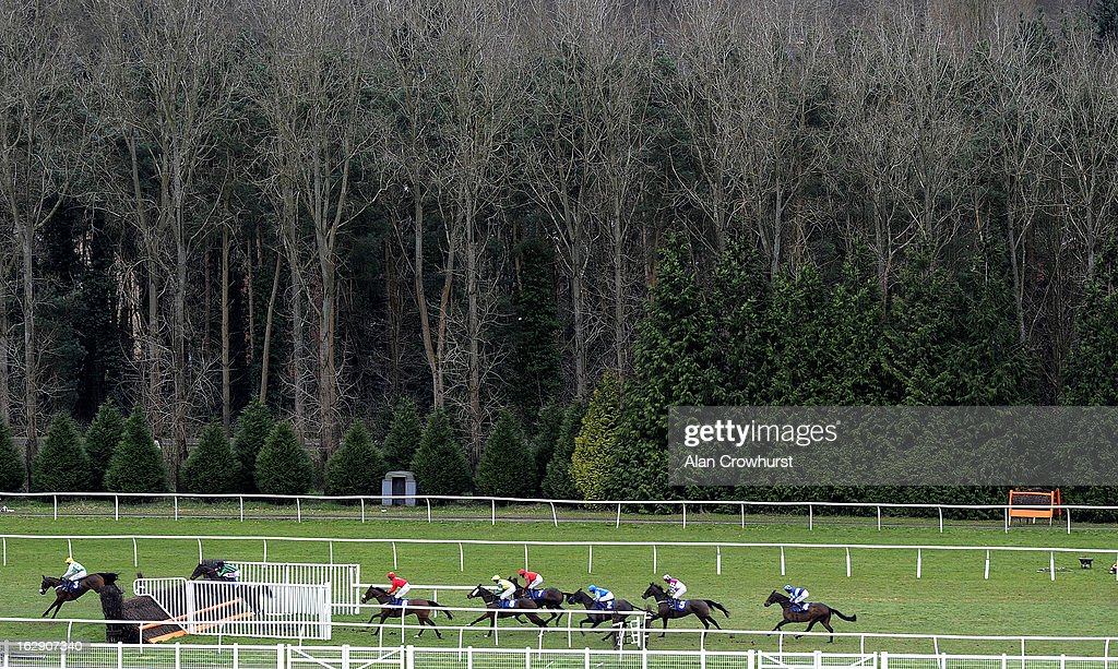 Runners take a fence in the back straight in The Berry Bros & Rudd Handicap Steple Chase at Newbury racecourse on March 01, 2013 in Newbury, England.