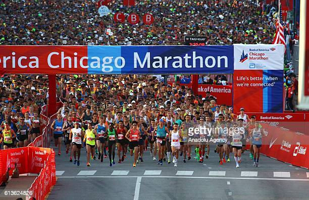 Runners take off from Monroe street and head up Columbus Drive for the 39th running of the Chicago Marathon in Chicago Illinois USA on 09 October...