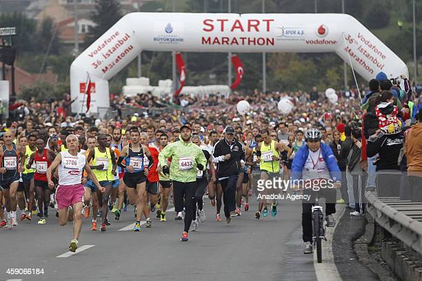 Runners take part in 36th Vodafone Istanbul Marathon one of the top 10 marathons in the world in Istanbul Turkey on 16 November 2014 Participants...