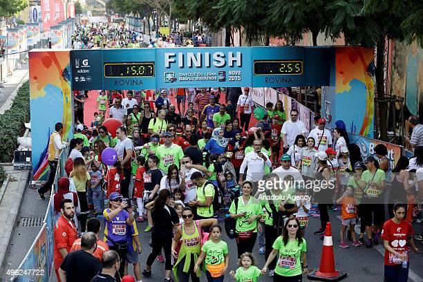 Runners take part in the 13th annual Beirut Marathon on November 08 2015 in Beirut Lebanon