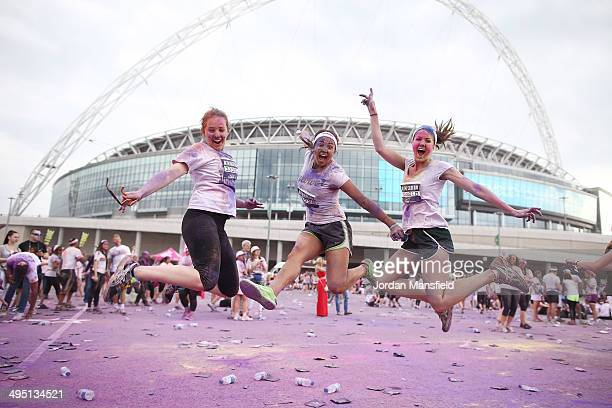 Runners take part in The Color Run presented by Dulux known as the happiest 5km on the planet on June 1 2014 in London England Runners of all shapes...
