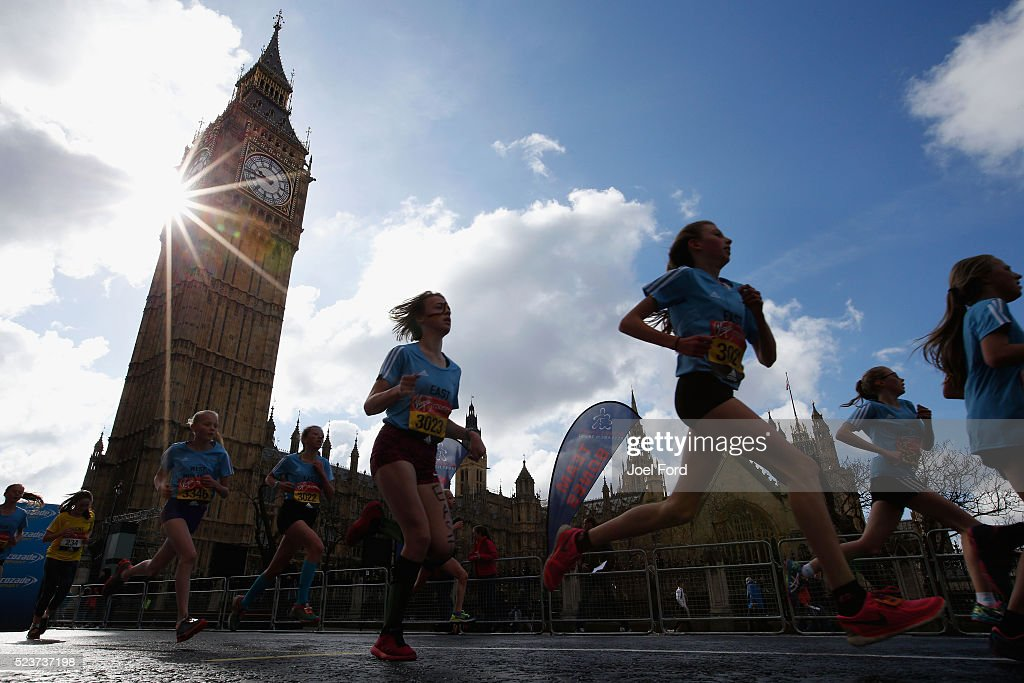 Runners take part in the Virgin Money Giving Mini London Marathon at United Kingdom on April 24, 2016 in London, England.