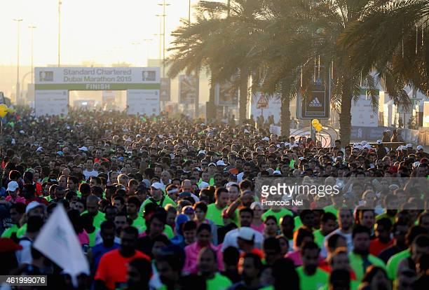 Runners take part inthe Standard Chartered Dubai Marathon on January 23 2015 in Dubai United Arab Emirates