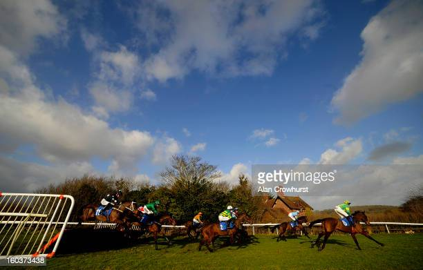 Runners take the first flight of hurdles in The Bet With The Ludlow On Course Bookmakers Mares' Handicap Hurdle Race at Ludlow racecourse on January...