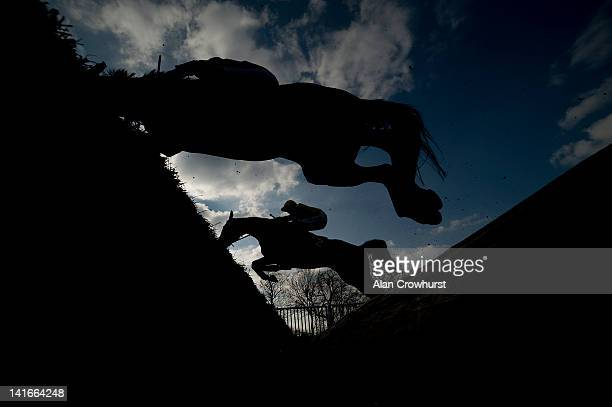 Runners take the open ditch at Warwick racecourse on March 21, 2012 in Warwick, England.