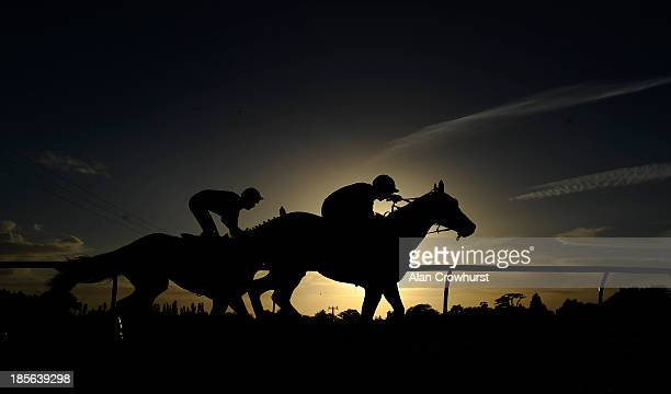 Runners take the top bend at Fontwell racecourse on October 23 2013 in Fontwell England