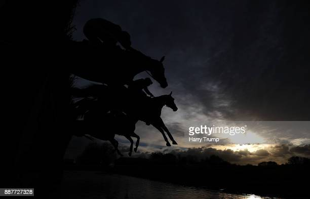 Runners takes the water jump during the Crestmoor Construction Handicap Chase at Wincanton Racecourse on December 7 2017 in Wincanton England