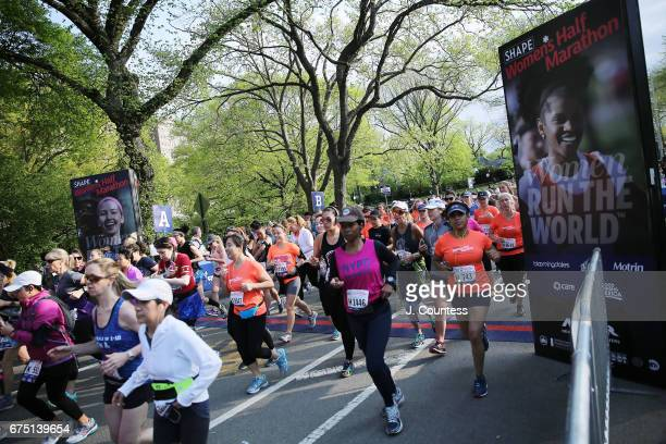 Runners taking part in the 14th Annual SHAPE Women's Half Marathon at Central Park start the race on April 30, 2017 in New York City.