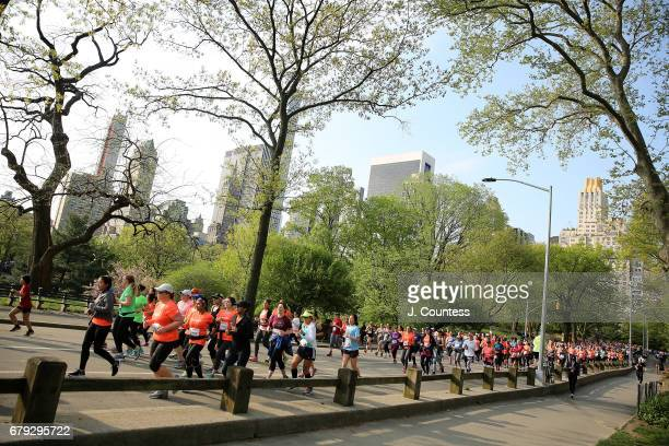 Runners taking part in the 14th Annual SHAPE Women's Half Marathon at Central Park on April 30, 2017 in New York City.