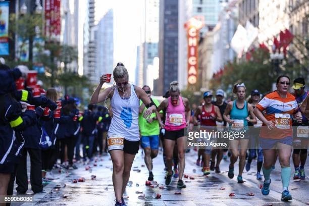 Runners took off from Monroe street and heading up Columbus Drive compete during the 40th running of the Bank of America Chicago Marathon in Chicago...