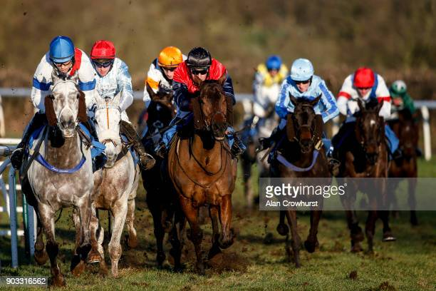 Runners turn into the straight at Ludlow racecourse on January 10 2018 in Ludlow England