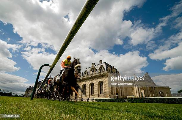 Runners turn out of the back straight and away from the Les Grandes Ecuries at Chantilly racecourse on June 02 2013 in Chantilly France