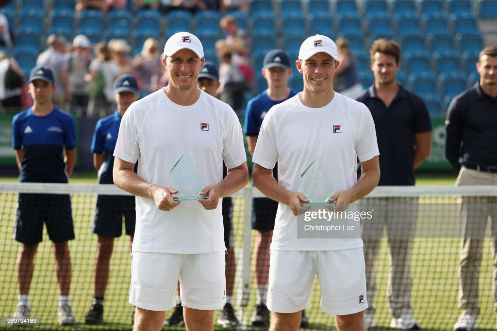 Runners up, Ken Skupski and Neal Skupski of Great Britain pose for the cameras with their trophies after their match against Luke Bambridge and Jonny O'Mara of Great Britain during their Mens Doubles Final on Day 7 of the Fuzion 100 Surbition Trophy on June 8, 2018 in London, United Kingdom.