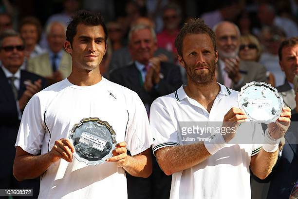 Runners up Robert Lindstedt of Sweden and Horia Tecau of Romania after the Mens Doubles Final match against Jurgen Melzer of Austria and Philipp...
