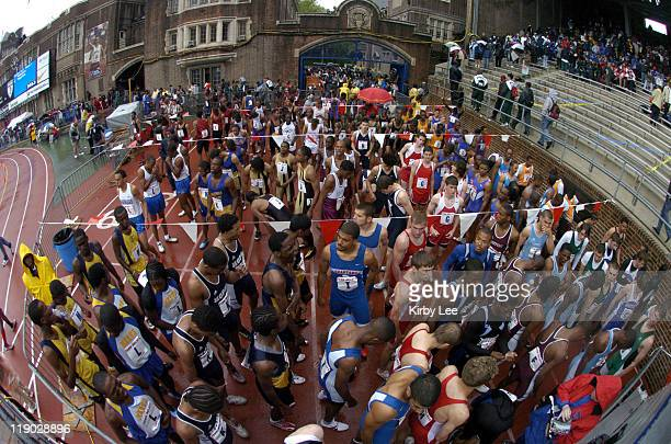 Runners wait for their races in the Paddock in the111th Penn Relays at the University of Pennsylvania's Franklin Field in Philadelphia Pa on Saturday...