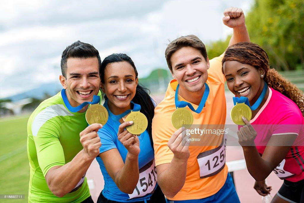Läufer mit Goldmedaillen : Stock-Foto