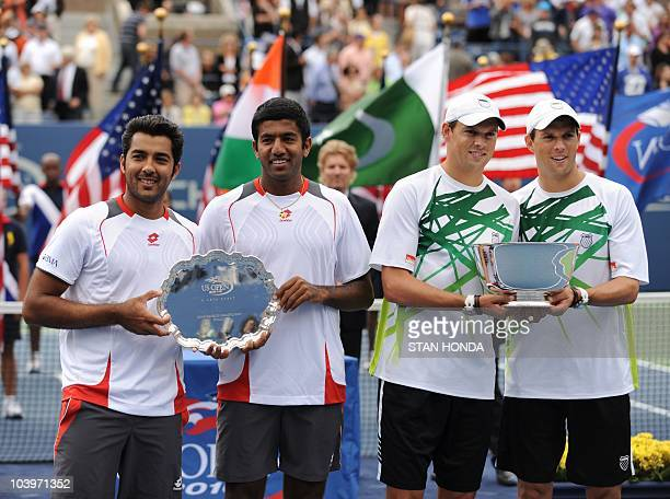 Runnersup Rohan Bopanna of India and AisamUlHaq Qureshi of Pakistan and champions brothers Mike and Bob Bryan of the US pose after the Men's Doubles...
