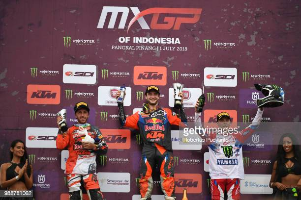 PANGKALPINANG BANGKA INDONESIA JULY 01 Runnerup Antonio Cairoli of Red Bull KTM Factory Racing Team winner Jeffrey Herlings of Red Bull KTM Factory...