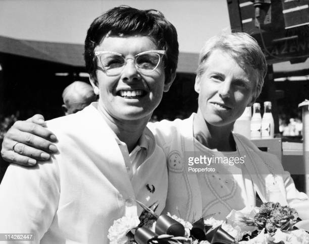 Runnerup Billie Jean King of the USA with Ann Jones of Great Britain who won the Ladies Singles title at Wimbledon 36 63 63 on 4th July 1969