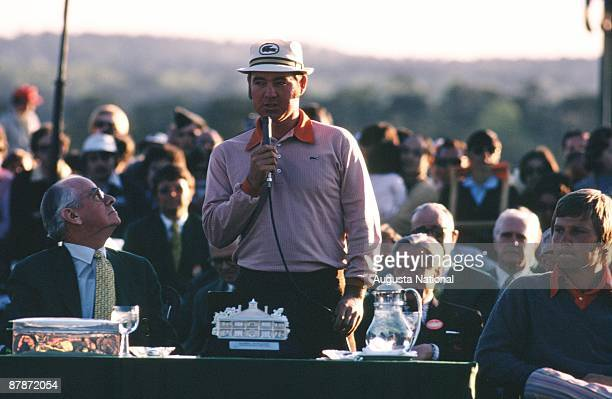 Runnerup Bobby Mitchell speaks at the Presentation Ceremony after the 1972 Masters Tournament at Augusta National Golf Club in April 1972 in Augusta...