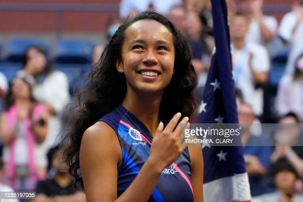 Runner-up Canada's Leylah Fernandez looks on with tears in her eyes as she is interviewed after losing the 2021 US Open Tennis tournament women's...