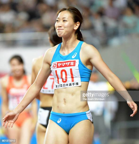 Runnerup Chisato Fukushima reacts after competing in the Women's 100m final during day two of the 101st JAAF Athletics Championships at Yanmar...