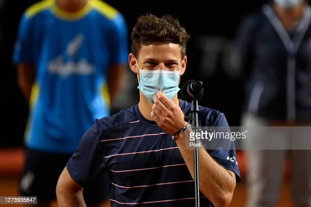 Runner-up Diego Schwartzman of Argentina speaks in the presentation ceremony after loosing his men's final match against Novak Djokovic of Serbia...
