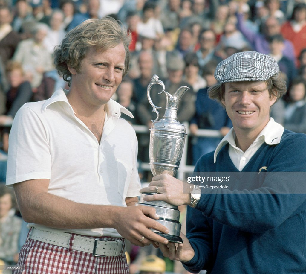 Runner-up Jack Newton of Australia (left) and winner Tom Watson of the United States with the trophy during the British Open Golf Championship at Carnoustie Golf Links in Scotland on 13th July 1975.