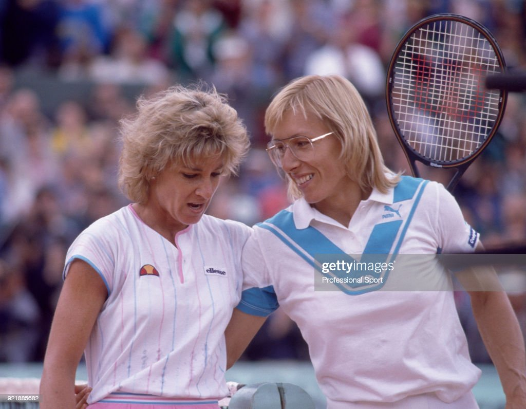 Runner-up Martina Navratilova (right) and champion Chris Evert-Lloyd both of the USA after the Women's Singles Final of the French Open Tennis Championships at the Stade Roland Garros on June 7, 1986 in Paris, France.