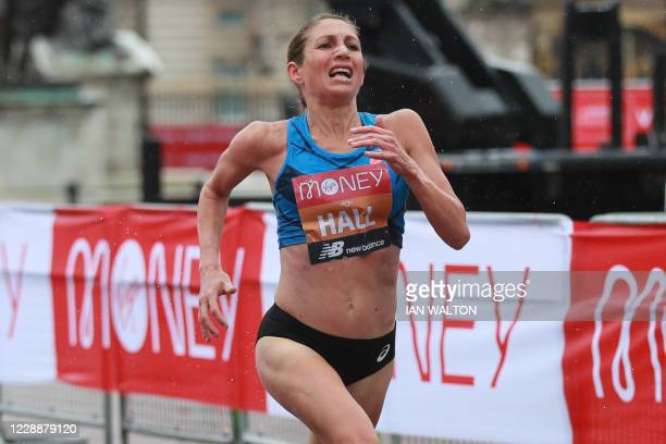 Runnerup US runner Sara Hall sprints to the finish of the women's race of the 2020 London Marathon in central London on October 4 2020 This year's...