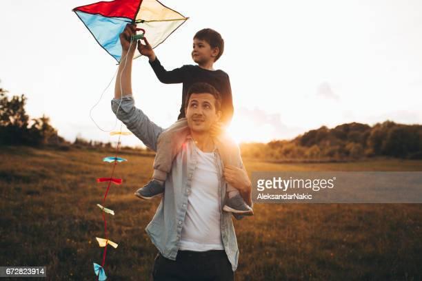 Läuft einen Kite mit meinem Vater