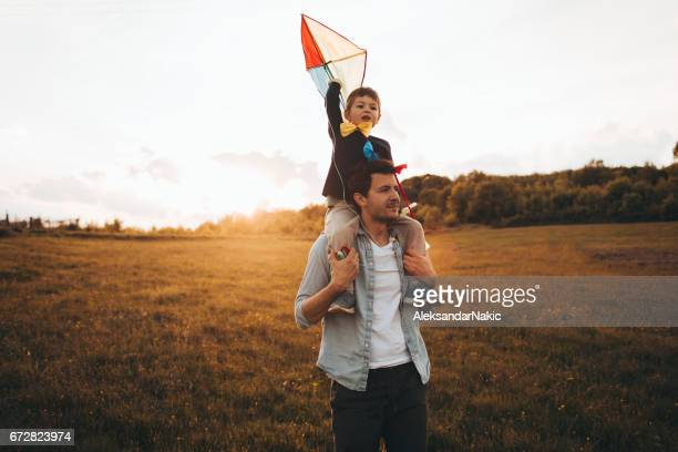 Running a kite with my dad