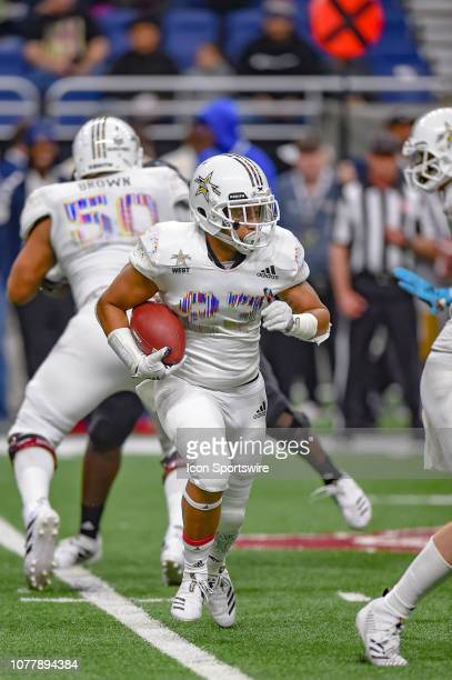 Running Austin Jones runs the ball during the AllAmerican Bowl on January 05 2019 at the Alamodome in San Antonio Texas