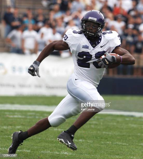 TCU running back AAron Brown looks for running room against BYU during the second quarter at LaVelle Edwards Field in Provo Utah Saturday Sept 24 2005