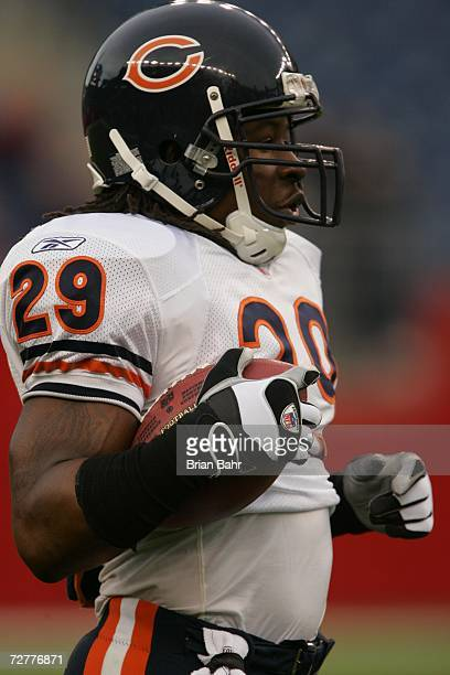 Running back Adrian Peterson of the Chicago Bears warms up against the New England Patriots on November 26 2006 at Gillette Stadium in Foxborough...